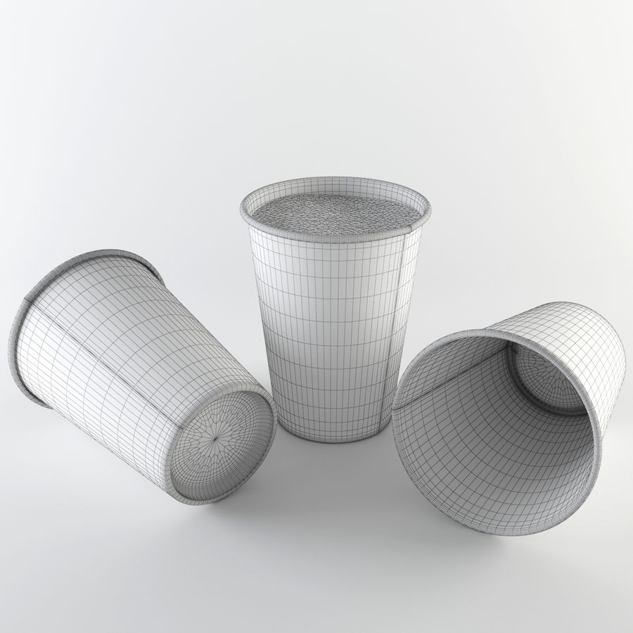 Paper Cup Set royalty-free 3d model - Preview no. 8