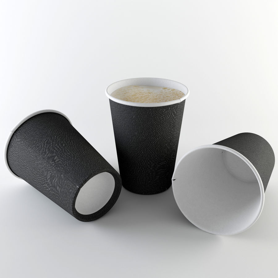 Paper Cup Set royalty-free 3d model - Preview no. 5