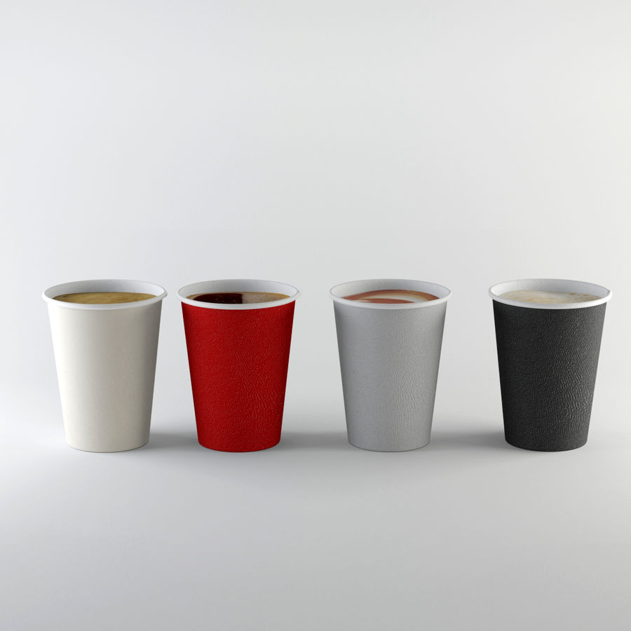 Paper Cup Set royalty-free 3d model - Preview no. 6