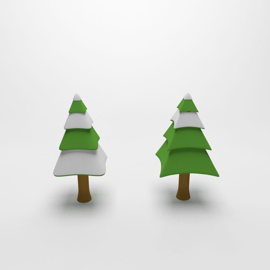Cartoon snowy spruce tree royalty-free 3d model - Preview no. 2