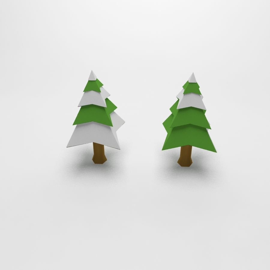 Cartoon snowy spruce tree royalty-free 3d model - Preview no. 4