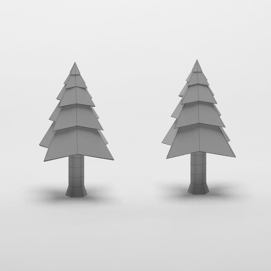 Cartoon snowy spruce tree royalty-free 3d model - Preview no. 9