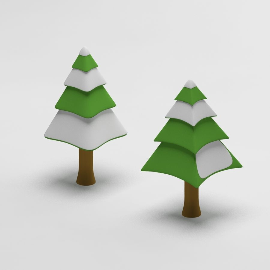 Cartoon snowy spruce tree royalty-free 3d model - Preview no. 1