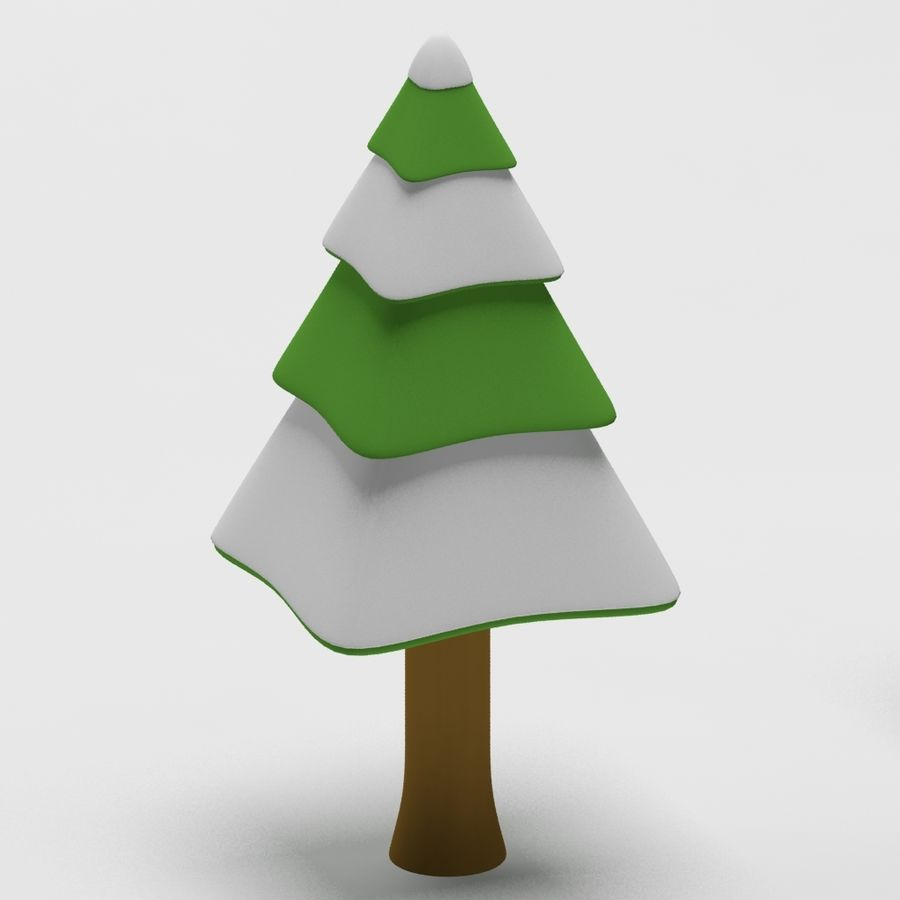 Cartoon snowy spruce tree royalty-free 3d model - Preview no. 8