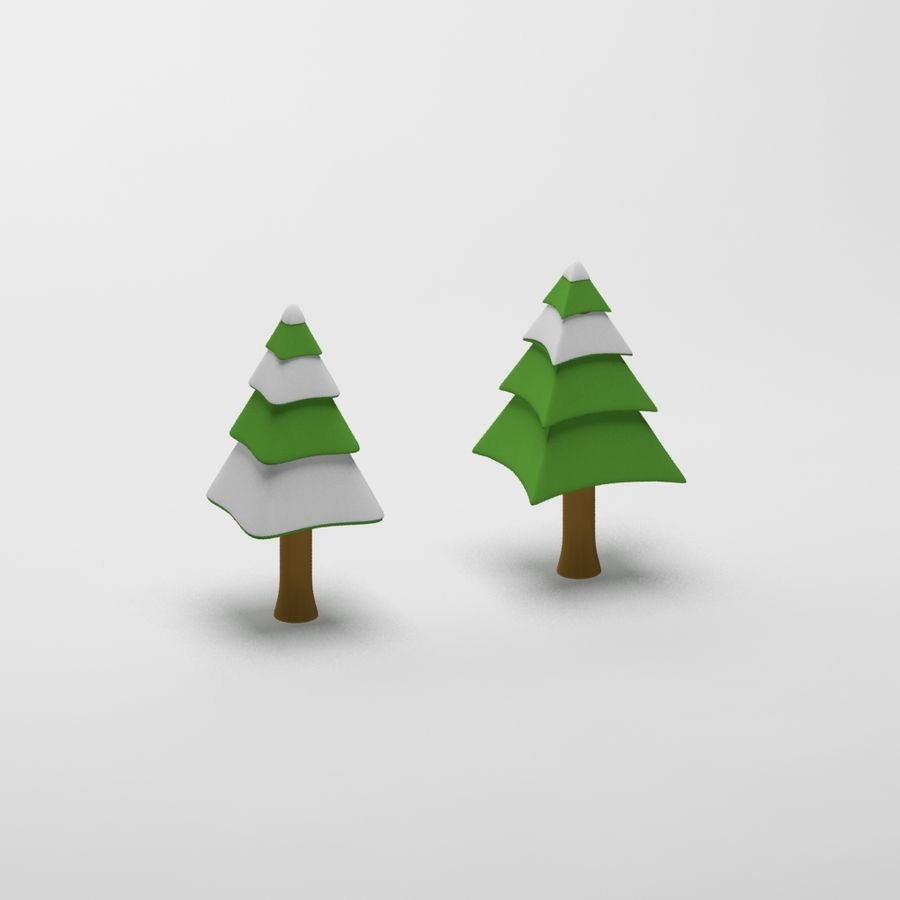 Cartoon snowy spruce tree royalty-free 3d model - Preview no. 6