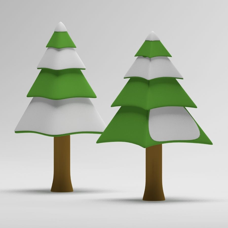 Cartoon snowy spruce tree royalty-free 3d model - Preview no. 5
