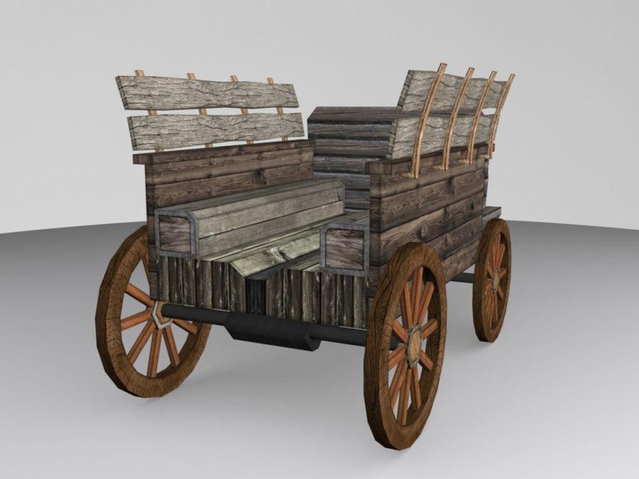 Voiture Médiévale Low-Poly royalty-free 3d model - Preview no. 2