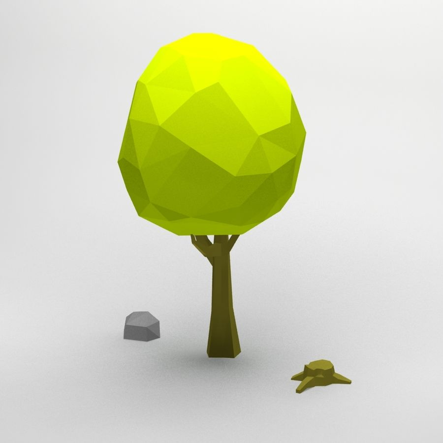 Cartoon low poly tree royalty-free 3d model - Preview no. 6