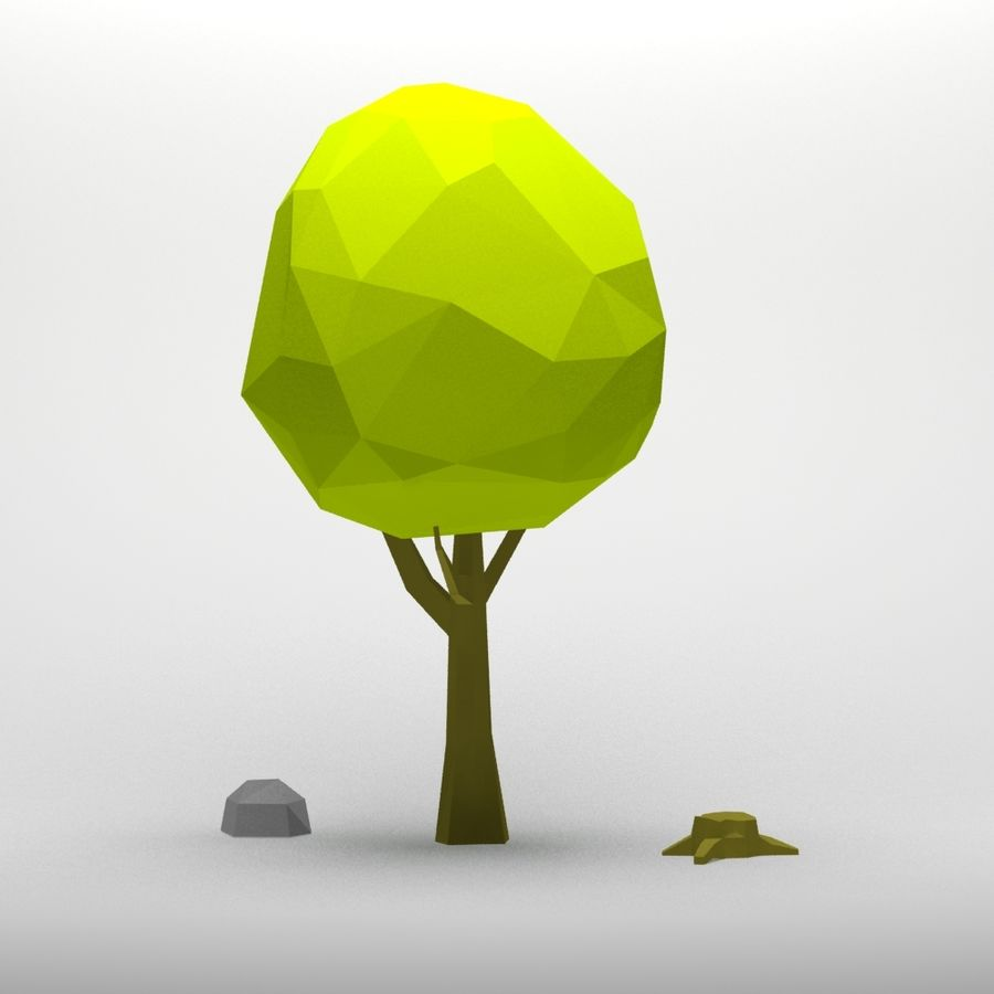 Cartoon low poly tree royalty-free 3d model - Preview no. 1