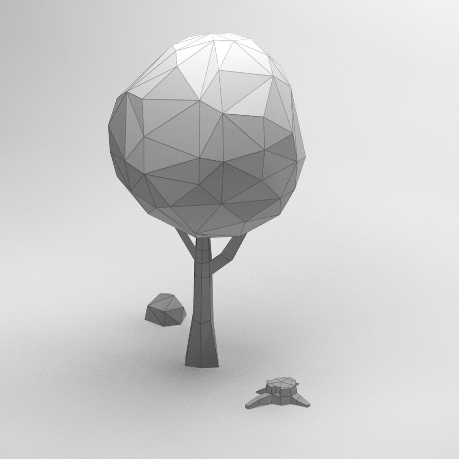 Cartoon low poly tree royalty-free 3d model - Preview no. 7