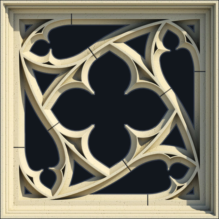 Small Square Gothic Window Royalty Free 3d Model