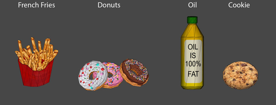 Food items royalty-free 3d model - Preview no. 2