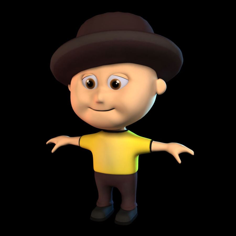 Cartoon Boy royalty-free 3d model - Preview no. 4