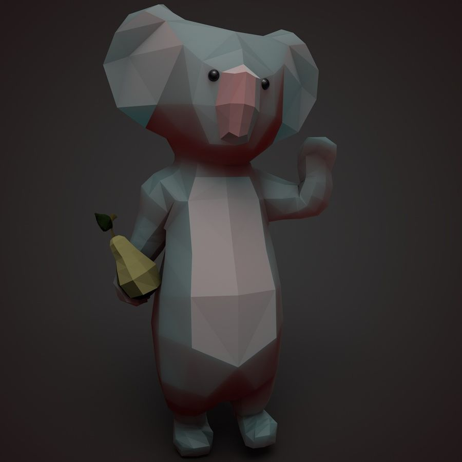 Tecknad Koala royalty-free 3d model - Preview no. 3