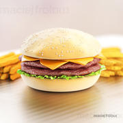 Hamburger with cheese, salad and fries 3d model