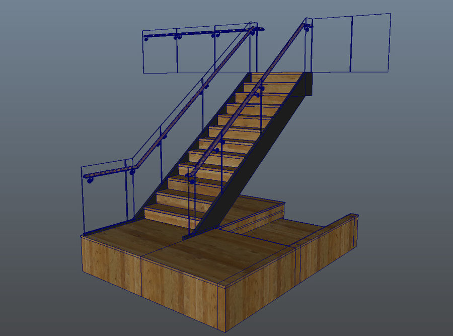 Glas & Holz Treppenhaus royalty-free 3d model - Preview no. 14