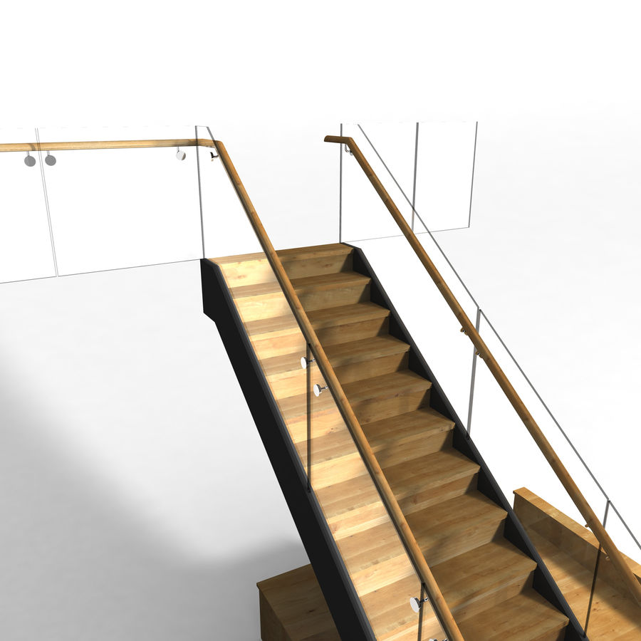 Glas & Holz Treppenhaus royalty-free 3d model - Preview no. 8