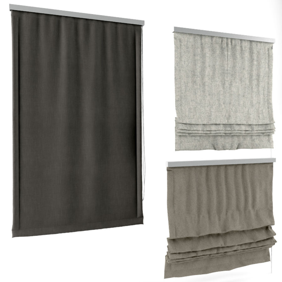 Roman Blinds royalty-free 3d model - Preview no. 4