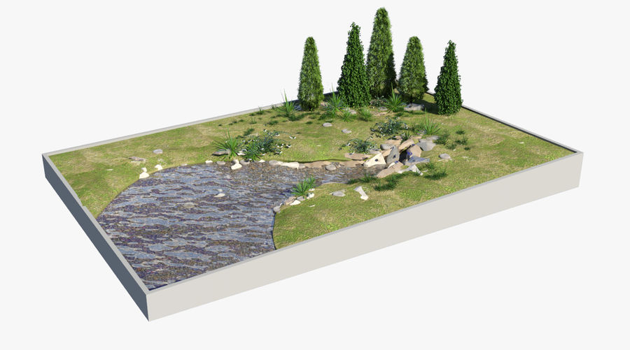 landscape with a pond royalty-free 3d model - Preview no. 2