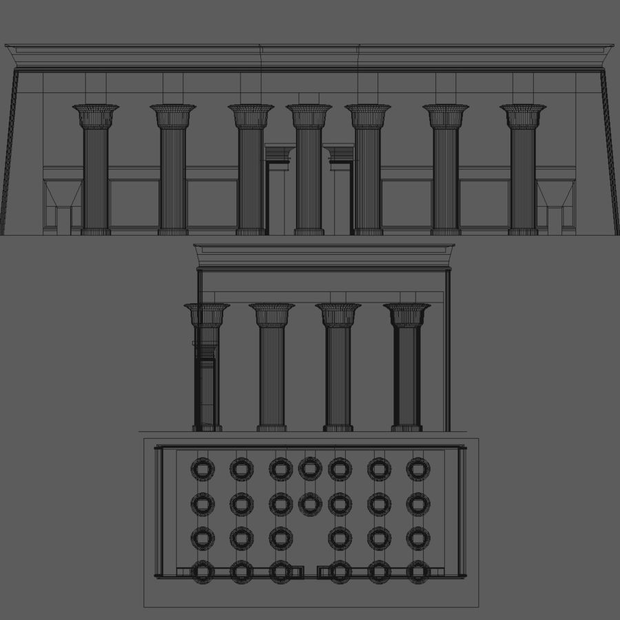 Egyptian Temple royalty-free 3d model - Preview no. 6