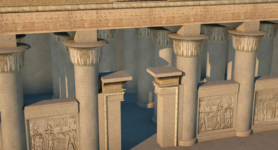 Egyptian Temple royalty-free 3d model - Preview no. 3