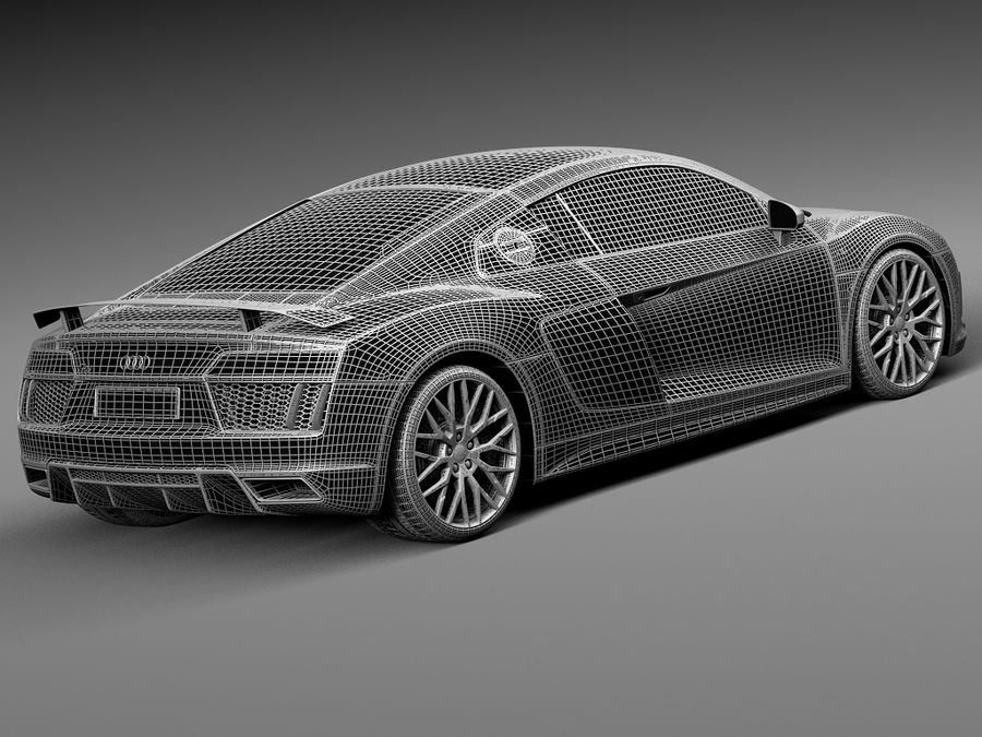 Audi R8 V10 Plus 2016 royalty-free 3d model - Preview no. 17