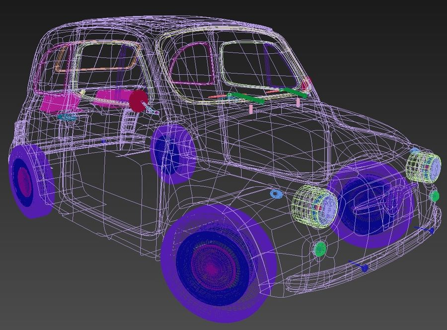 Fiat 500 royalty-free 3d model - Preview no. 7