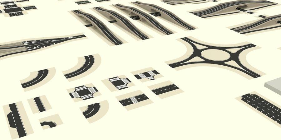 Modular city roads royalty-free 3d model - Preview no. 3