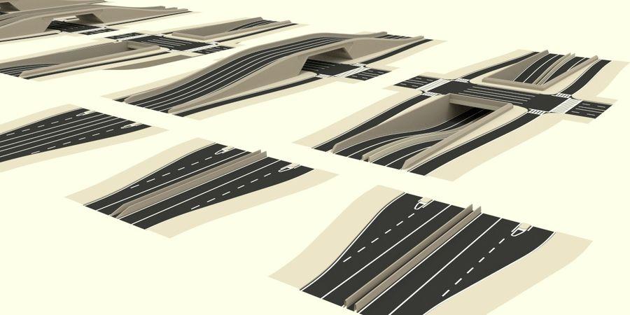 Modular city roads royalty-free 3d model - Preview no. 6