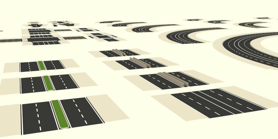 Modular city roads royalty-free 3d model - Preview no. 4