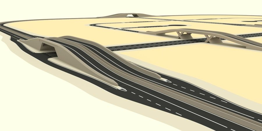 Modular city roads royalty-free 3d model - Preview no. 8
