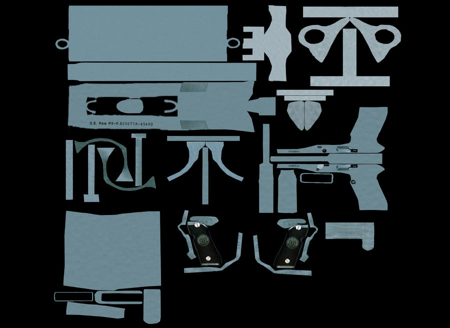 M9贝雷塔 royalty-free 3d model - Preview no. 10