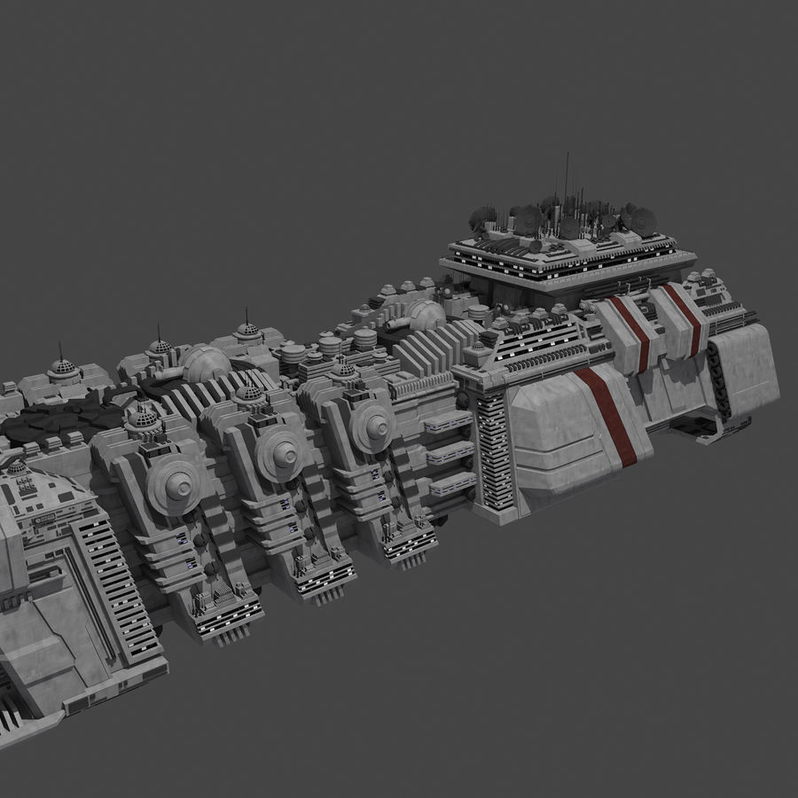 Large Spaceship 1 - Sci Fi Futuristic HD Spacecraft royalty-free 3d model - Preview no. 3