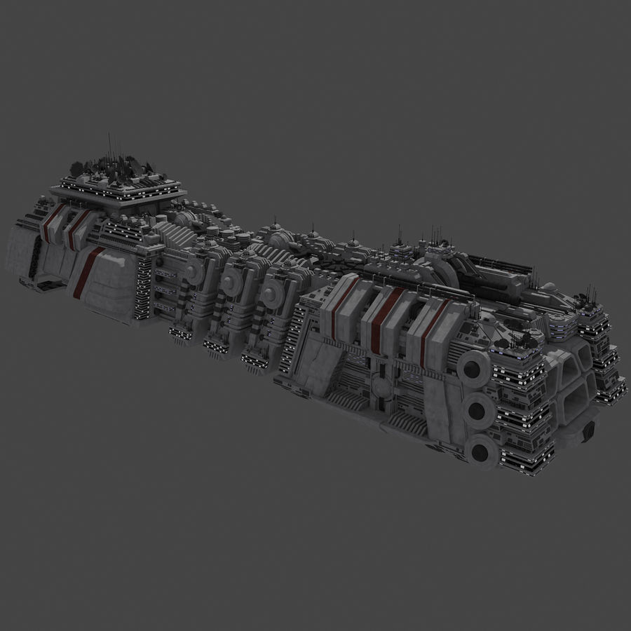 Large Spaceship 1 - Sci Fi Futuristic HD Spacecraft royalty-free 3d model - Preview no. 6