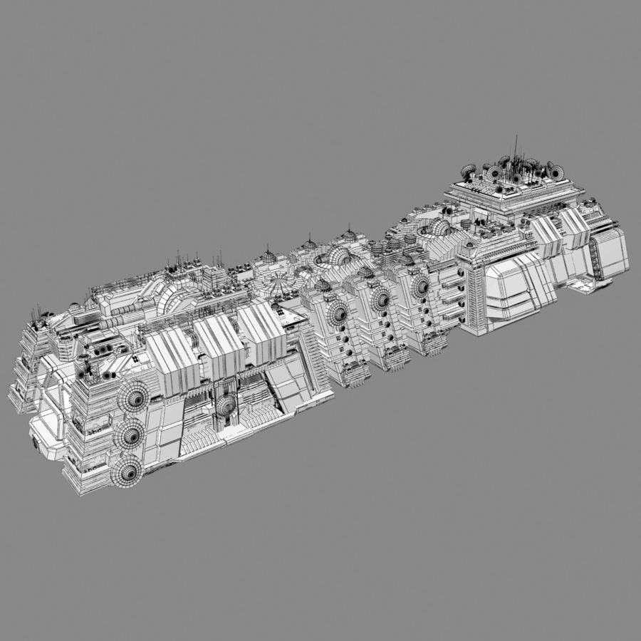 Large Spaceship 1 - Sci Fi Futuristic HD Spacecraft royalty-free 3d model - Preview no. 11