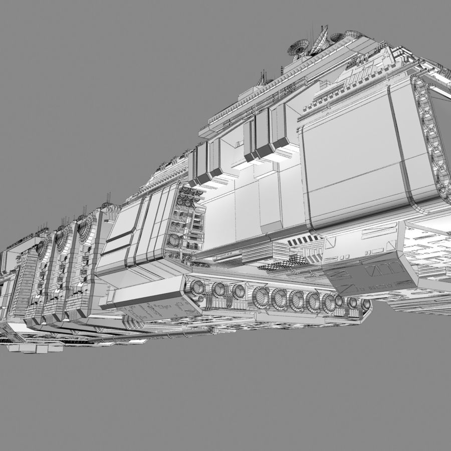 Large Spaceship 1 - Sci Fi Futuristic HD Spacecraft royalty-free 3d model - Preview no. 14