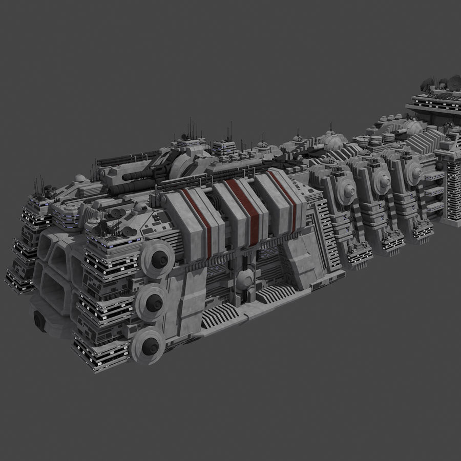 Large Spaceship 1 - Sci Fi Futuristic HD Spacecraft royalty-free 3d model - Preview no. 4