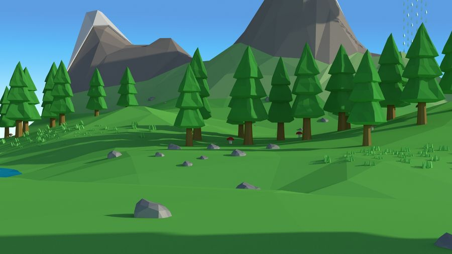 Cartoon low poly landscape scene royalty-free 3d model - Preview no. 2