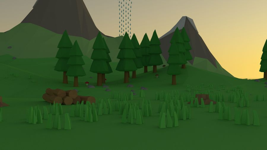 Cartoon low poly landscape scene royalty-free 3d model - Preview no. 4