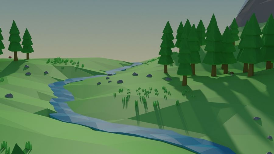 Cartoon low poly landscape scene royalty-free 3d model - Preview no. 8
