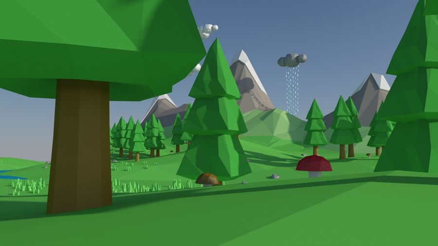 Cartoon low poly landscape scene royalty-free 3d model - Preview no. 5