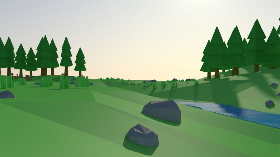 Cartoon low poly landscape scene royalty-free 3d model - Preview no. 7