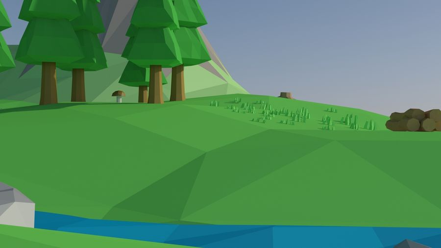 Cartoon low poly landscape scene royalty-free 3d model - Preview no. 6