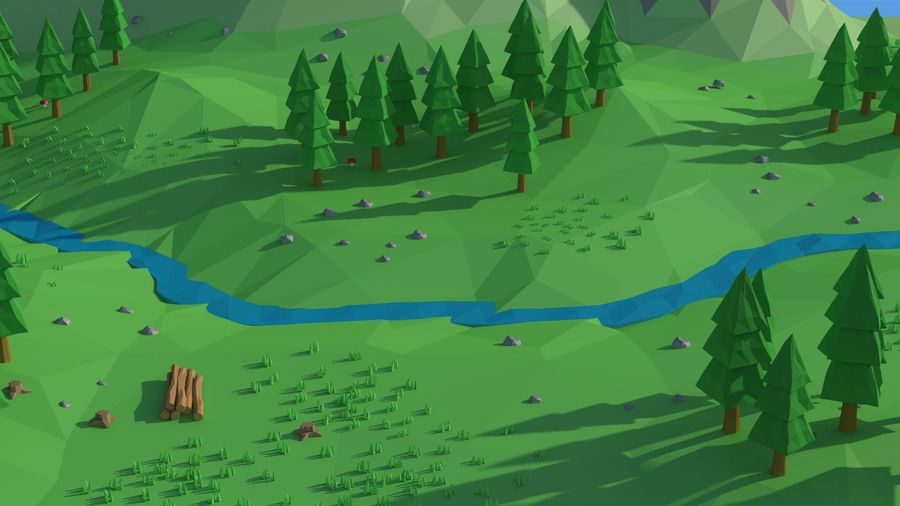 Cartoon low poly landscape scene royalty-free 3d model - Preview no. 12