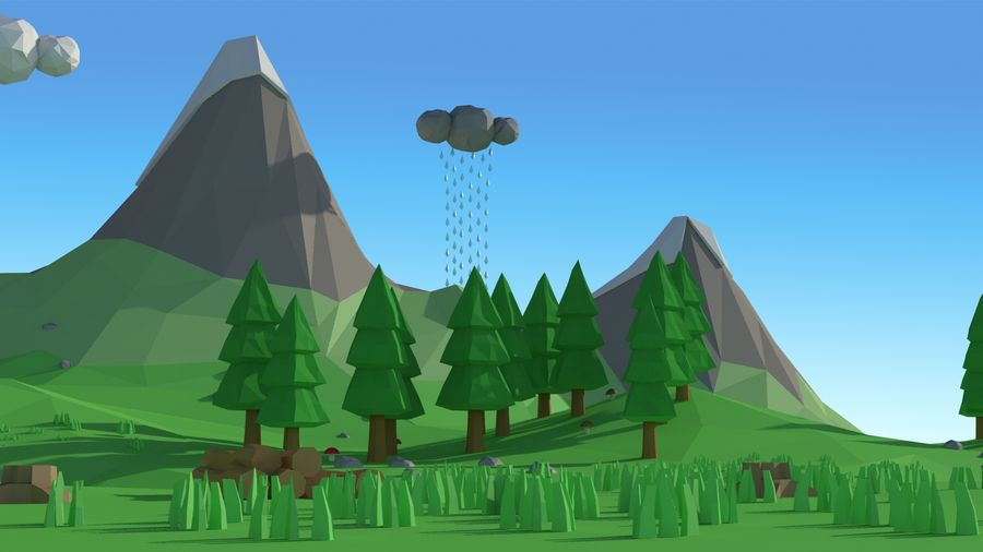 Cartoon low poly landscape scene royalty-free 3d model - Preview no. 11