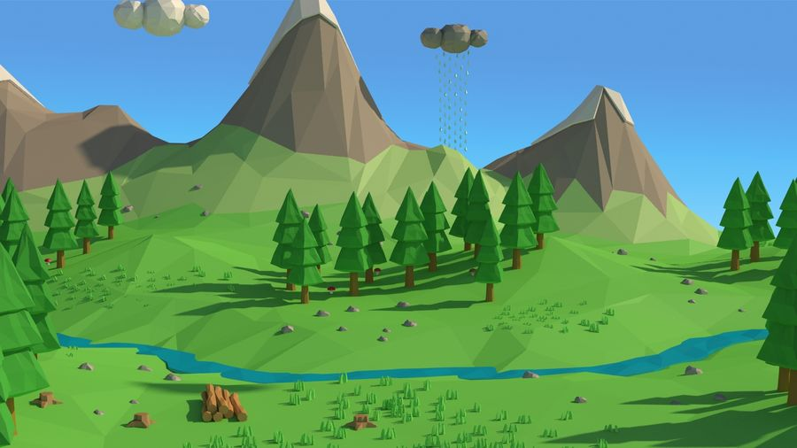 Cartoon low poly landscape scene royalty-free 3d model - Preview no. 1