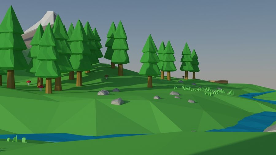 Cartoon low poly landscape scene royalty-free 3d model - Preview no. 9