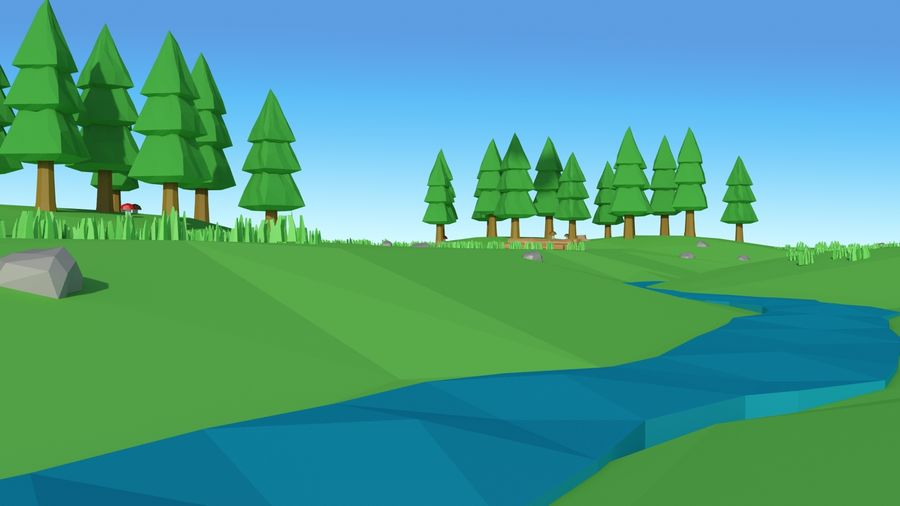 Cartoon low poly landscape scene royalty-free 3d model - Preview no. 10
