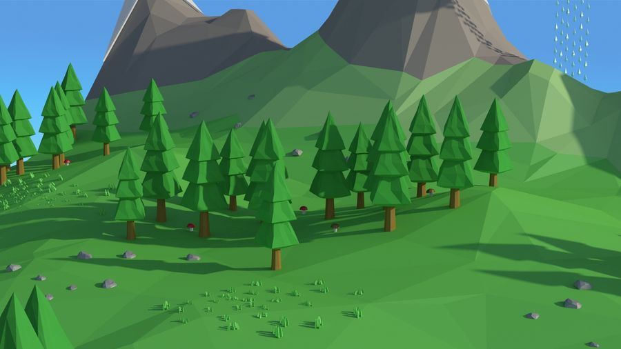 Cartoon low poly landscape scene royalty-free 3d model - Preview no. 13