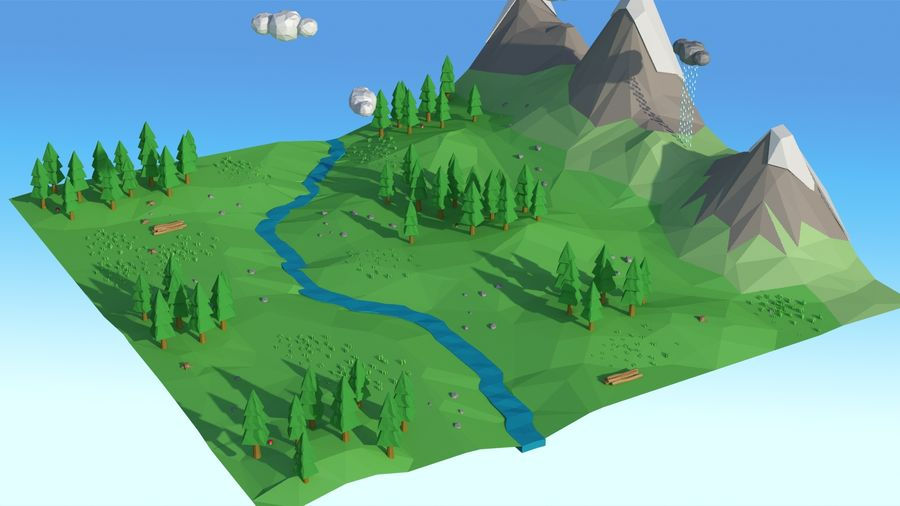Cartoon low poly landscape scene royalty-free 3d model - Preview no. 16